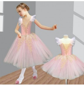 Light pink kids balet dance dress long length stage performance ballet costumes dress
